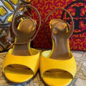 Yellow and cork wedges by Tory Burch